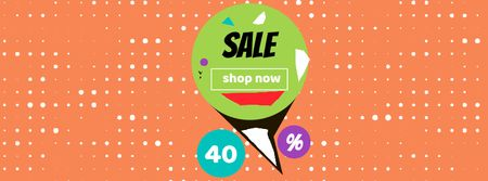 Sale Announcement on colorful geometric Frame Facebook Video cover Modelo de Design