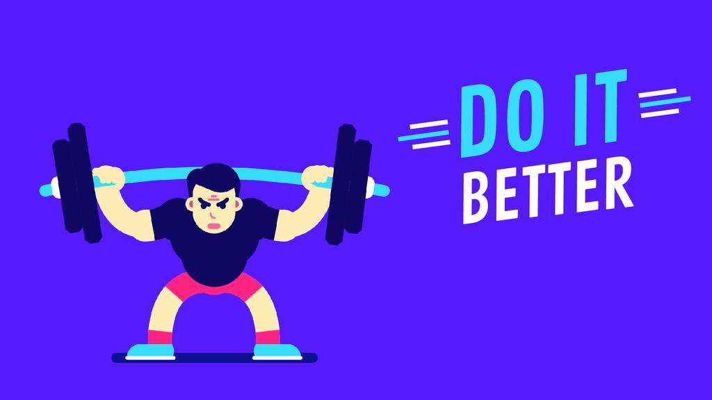Sport Inspiration Man Lifting Barbell in Blue —デザインを作成する