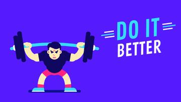 Sport Inspiration Man Lifting Barbell in Blue | Full Hd Video Template