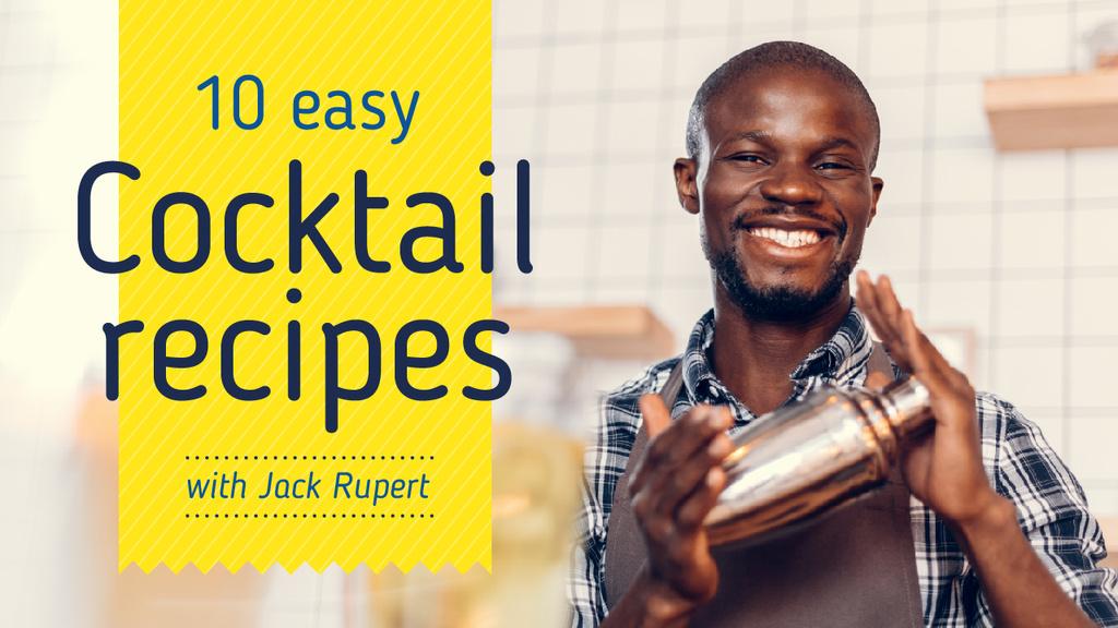 Cocktails Recipes Bartender Holding Shaker — Create a Design