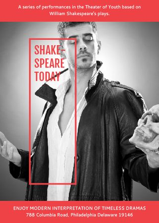 Plantilla de diseño de Theater Invitation Actor in Shakespeare's Performance Flayer