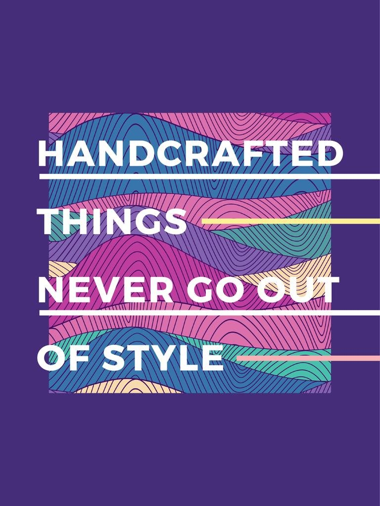 Handcrafted things Quote on Waves in purple — Create a Design