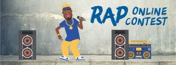 Rap Contest Announcement Man Performing with Microphone