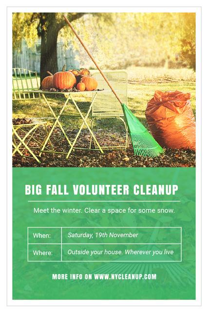 Volunteer Cleanup Announcement with Autumn Garden and Pumpkins Pinterest Design Template