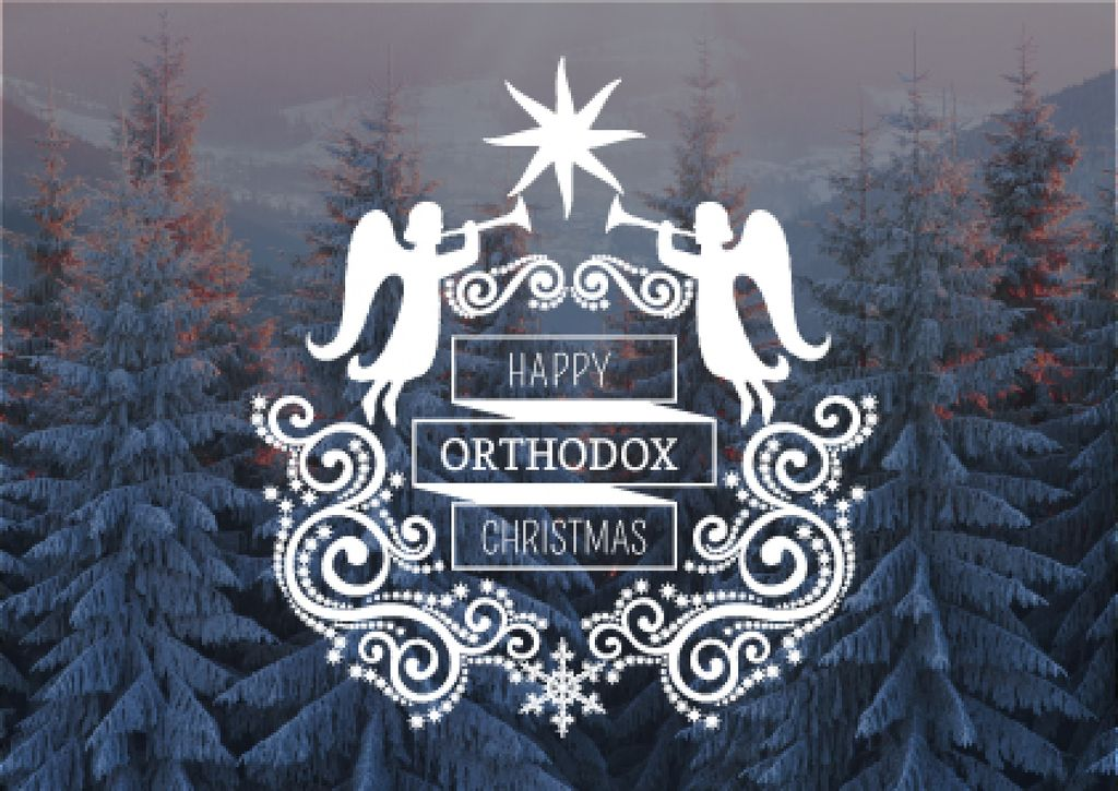 Happy Orthodox Christmas Angels over Snowy Trees —デザインを作成する