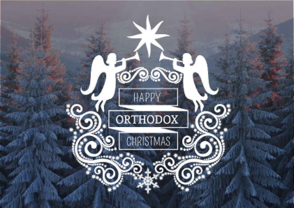 Happy Orthodox Christmas Angels over Snowy Trees — Crear un diseño