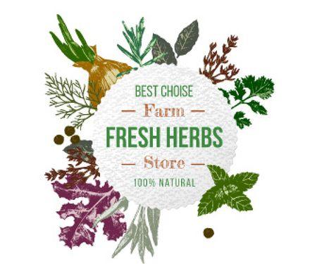 Fresh herbs sale advertisement Large Rectangle Tasarım Şablonu