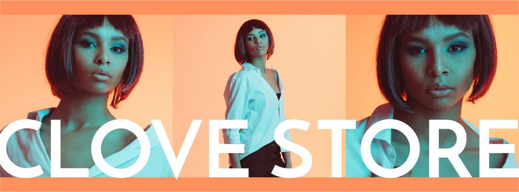 Fashion Store ad with Woman in neon light — Crear un diseño