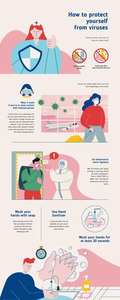 Education infographics How to protect from yourself Viruses — Créer un visuel