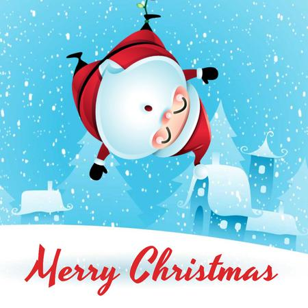 Plantilla de diseño de Christmas with Funny hanging Santa Claus Animated Post