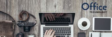 hands typing on laptop, office technology concept