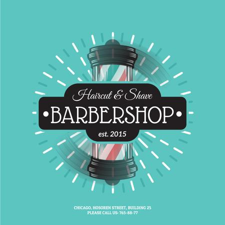 Plantilla de diseño de Barbershop Striped Lamp Animated Post