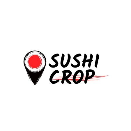 Sushi Delivery Ad with Map Pin with Maki Logo Tasarım Şablonu