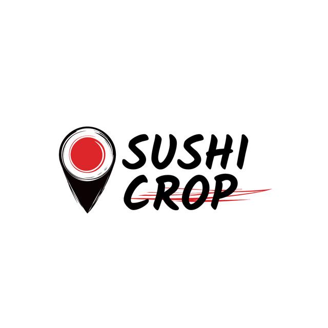 Plantilla de diseño de Sushi Delivery Ad with Map Pin with Maki Logo