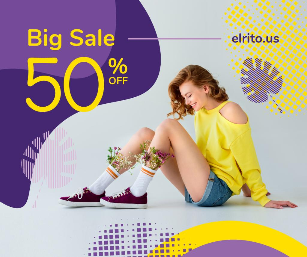 Fashion Ad with Happy Young Girl in Yellow | Facebook Post Template — Create a Design