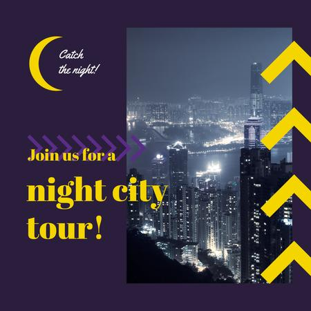 Ontwerpsjabloon van Instagram AD van Night City Tour Invitation Traffic Lights
