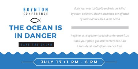 Ontwerpsjabloon van Image van Ecology Conference Invitation with blue Sea Waves