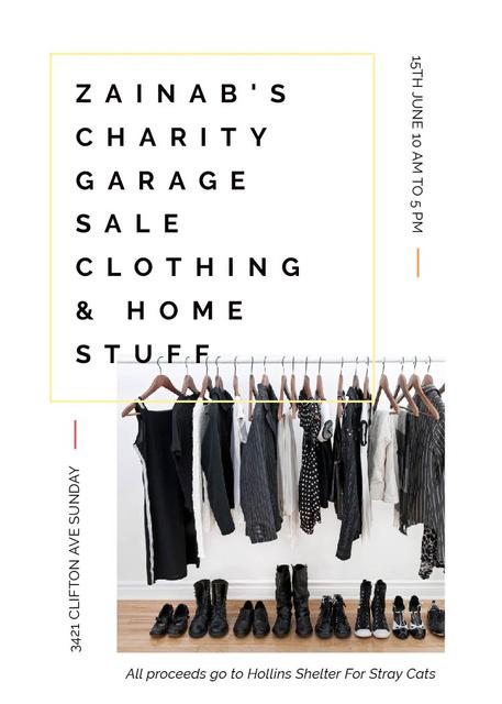 Plantilla de diseño de Charity Sale announcement Black Clothes on Hangers Flayer