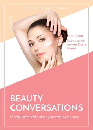 Modèle de visuel Woman applying Cream at Beauty event - Flayer