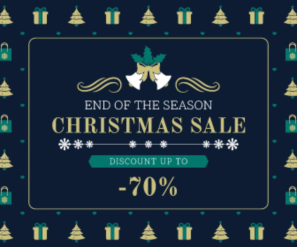 Christmas Sale Announcement Frame with Trees and Gifts | Large Rectangle Template — Crear un diseño