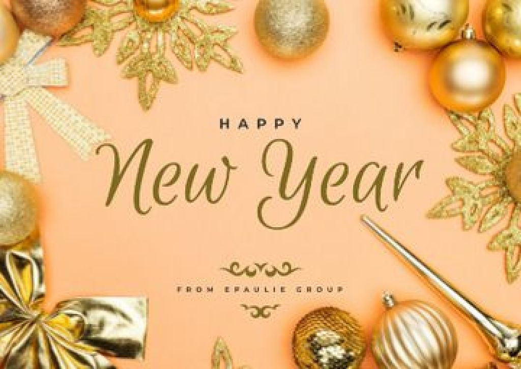 New Year Greeting in Golden Decorations — Créer un visuel