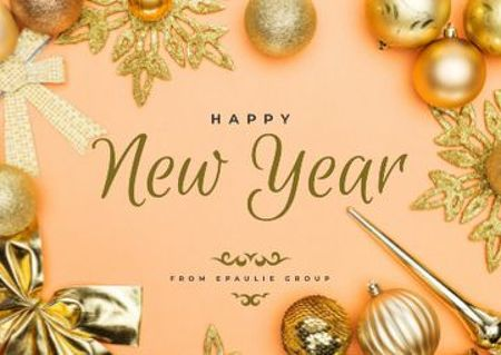 Ontwerpsjabloon van Postcard van New Year Greeting in Golden Decorations