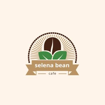 Cafe Ad with Coffee Bean in Brown
