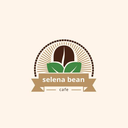 Cafe Ad with Coffee Bean in Brown Logo Modelo de Design