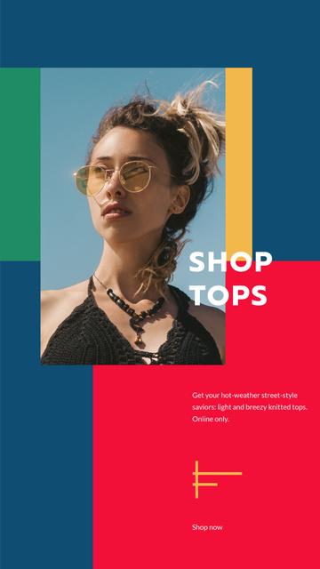 Plantilla de diseño de Fashion Tops sale ad with Girl in sunglasses Instagram Story
