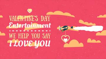 Valentine's Day Greeting Plane Carrying Heart | Full Hd Video Template