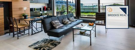Real estate agency with cozy living room Facebook cover Modelo de Design
