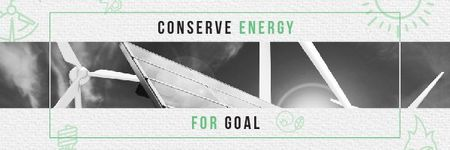 Ontwerpsjabloon van Email header van Concept of Conserve energy for goal