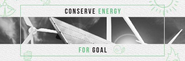 Ontwerpsjabloon van Email header van Concept of Conserve energy for goal