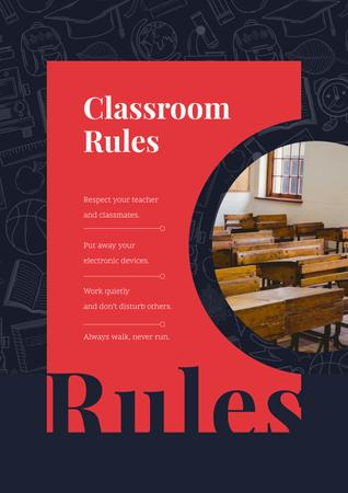 Plantilla de diseño de Empty classroom with old tables Poster