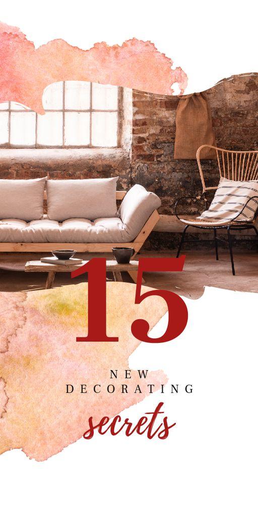 Cozy modern interior for Decorating Secrets Graphic – шаблон для дизайну