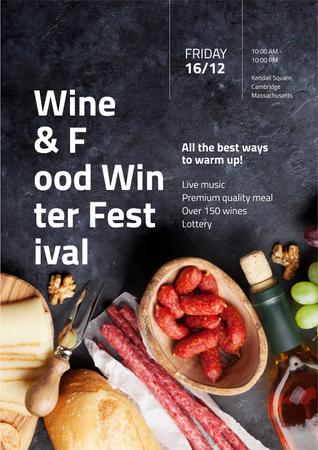 Food Festival Invitation with Wine and Snacks Poster – шаблон для дизайна