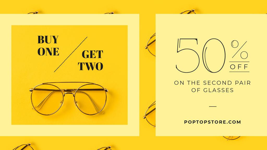 Optics Promotion Glasses in Rows on Yellow — Créer un visuel