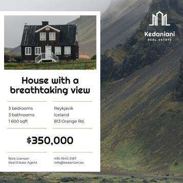 Real Estate Ad Beautiful House in Country Landscape
