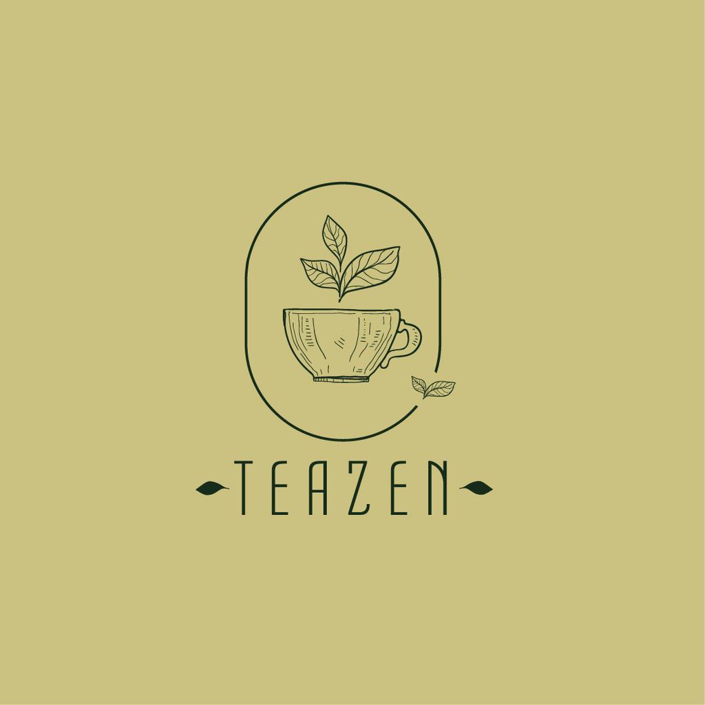 Plantilla de diseño de Tea Cup with Leaves in Frame Logo