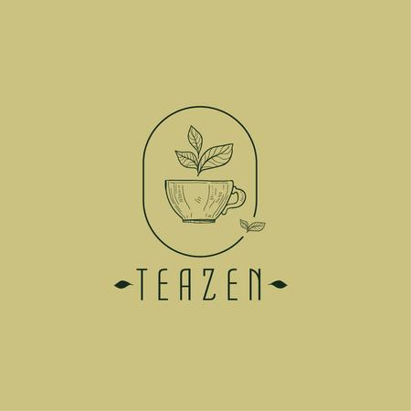 Ontwerpsjabloon van Logo van Tea Cup with Leaves in Frame