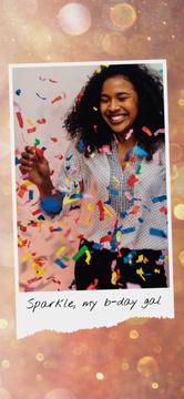 Birthday Celebration Girl Under Confetti