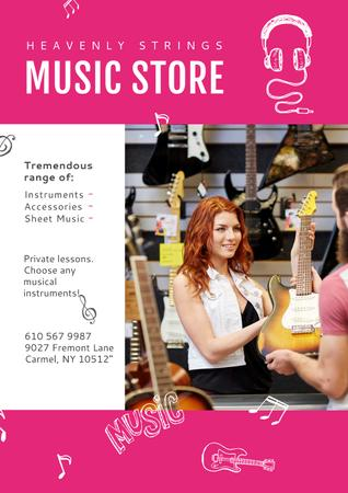 Plantilla de diseño de Young female seller offering Guitar to buyer Poster