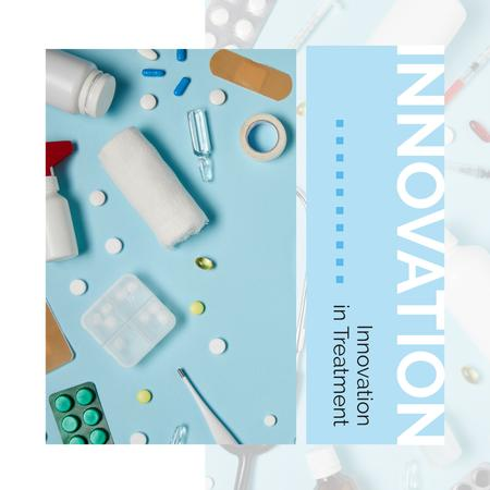 Pills and Medicines on Table in Blue Instagram AD Modelo de Design