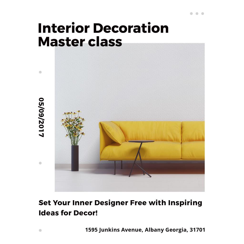 Minimalistic Room with Yellow Sofa — Modelo de projeto