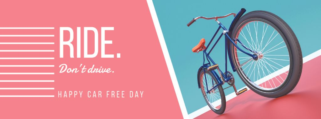 Happy car free day with bicycle — Create a Design