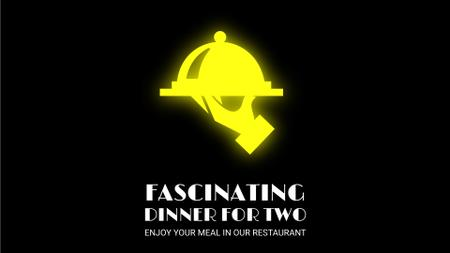 Plantilla de diseño de Neon Restaurant Signboard Food Icons Full HD video