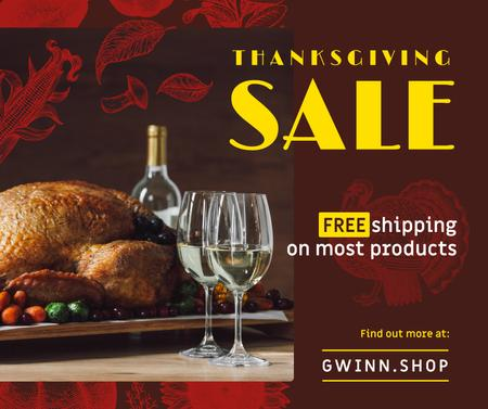 Template di design Thanksgiving Sale Dinner with Roasted Turkey Facebook