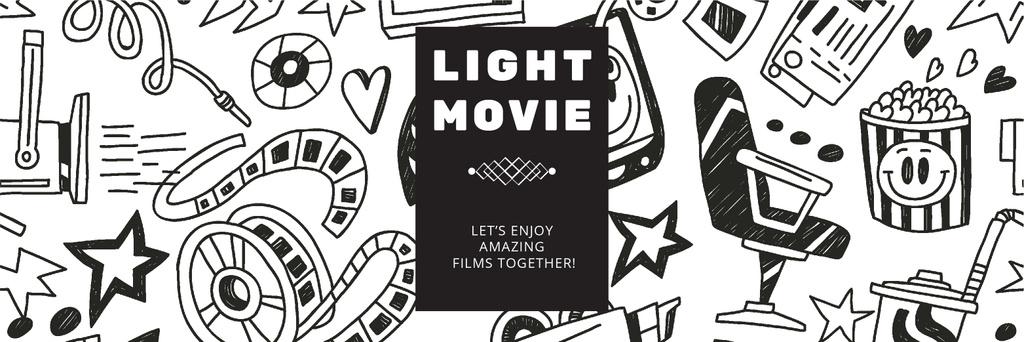Movie Night Event Announcement Arts Icons Pattern — Crear un diseño