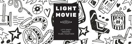 Template di design Movie Night Event Announcement Arts Icons Pattern Twitter