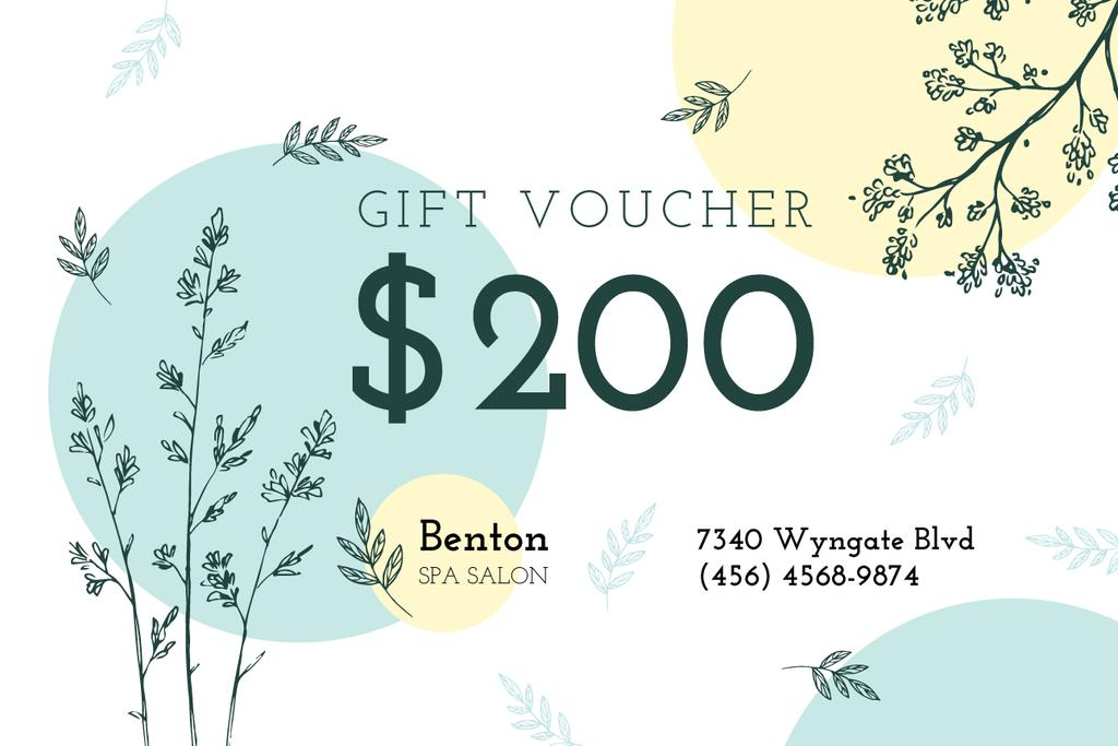 Spa Salon Offer Plant Sketches   Gift Certificate Template — Створити дизайн